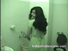 Young indian wife taking shower after rough sex