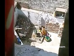 Nude desi woman bathing hidden record by young neighbour